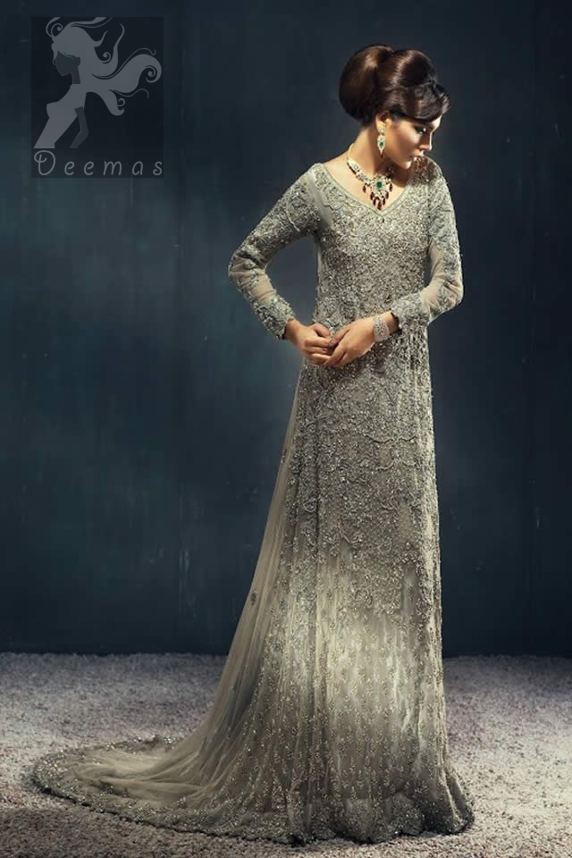 Pakistani Bridal Walima Wear Light Fawn Back Trail Maxi for 2016 Bride