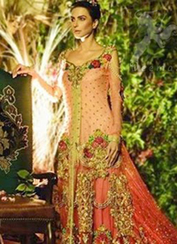 Pakistani Bridal Wear Triple Tone Back Trail Gown