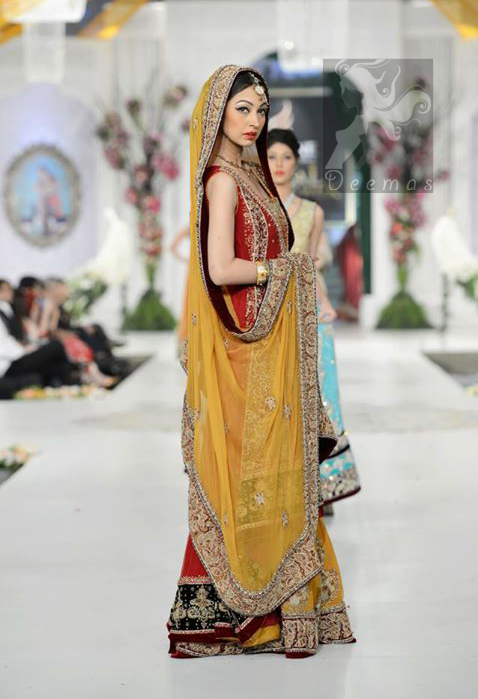 Red Back Trail Gown Yellow Orange Lehenga Dupatta for Mehndi Occasion