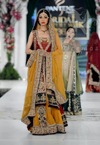 Mehndi Collection 2017 - Red Back Trail Gown - Yellow Lehenga - Bridal Dupatta