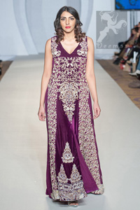 Latest Purple Double Layer Party Wear Gown