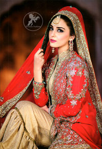 Bridal Wear Dress - Red Front Open Gown - Golden Jamawar Gharara