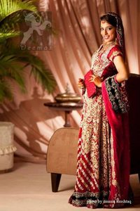 Wedding Outfit 2017 - Red Heavy Embroidered Bridal Gown