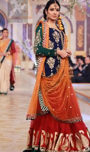 Mehndi Dresses 2017 – Royal Blue – Deep Orange – Red Lehenga