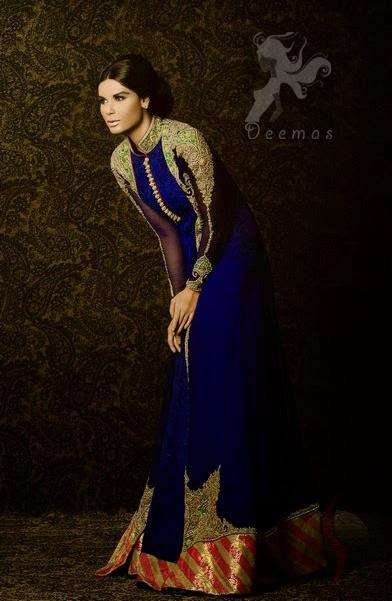Royal Blue Front Open Designer Wear Pishwas