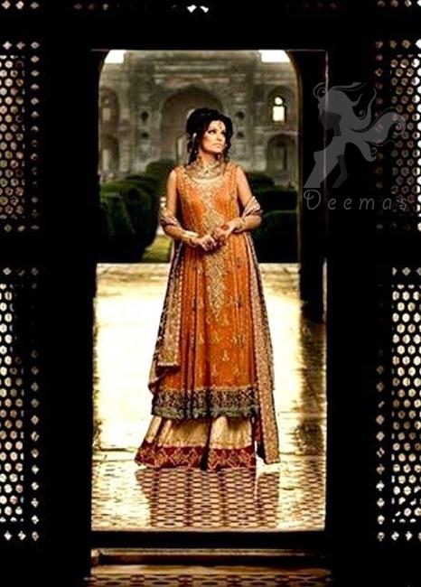 Rust A-line Bridal Frock Fawn Sharara Maroon Dupatta