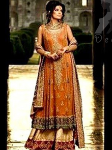 Rust A-line Bridal Frock with Fawn Sharara and Maroon Dupatta