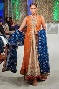 Rust Latest Formal Gown with Beige Back Trail Frock - Royal Blue Dupatta
