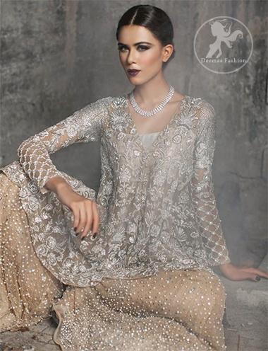 Silver & Light Golden Embroidered Short Shirt