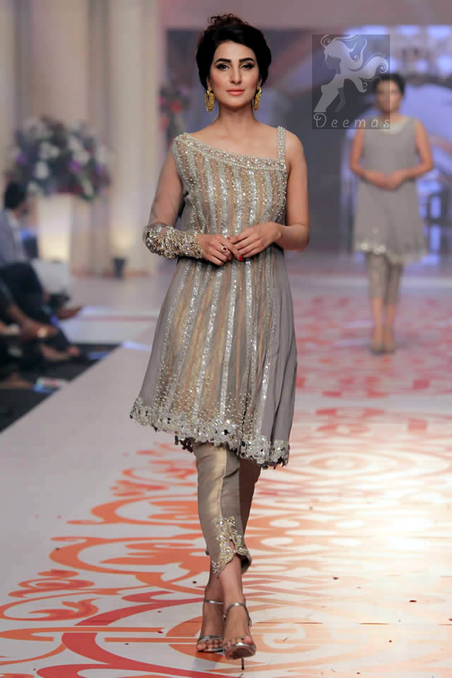 Designer Wear Silver Golden Dress