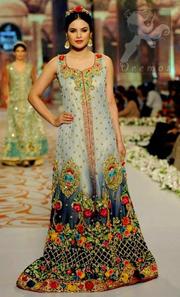 Designer Wear Bridal Pishwas - Triple Tone Front Open Maxi