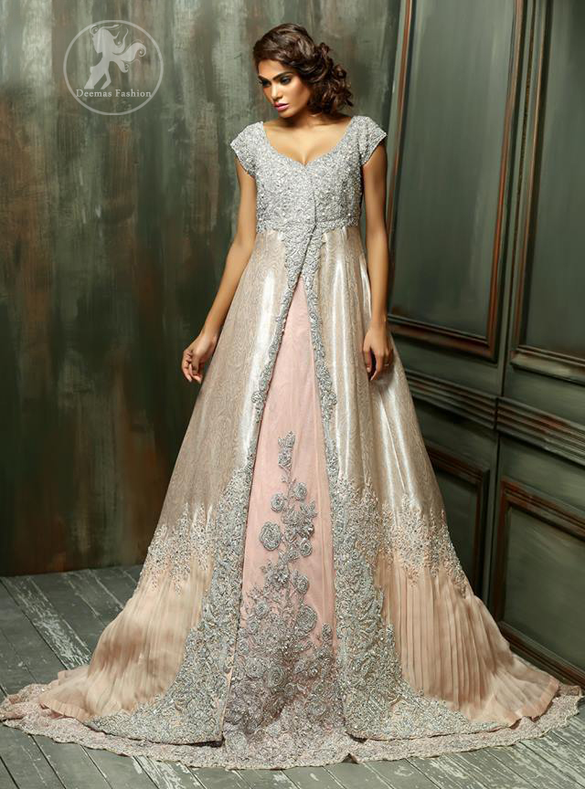 Pale Peach Front Open Back Trail Double Layer Gown with Embroidered Dupatta