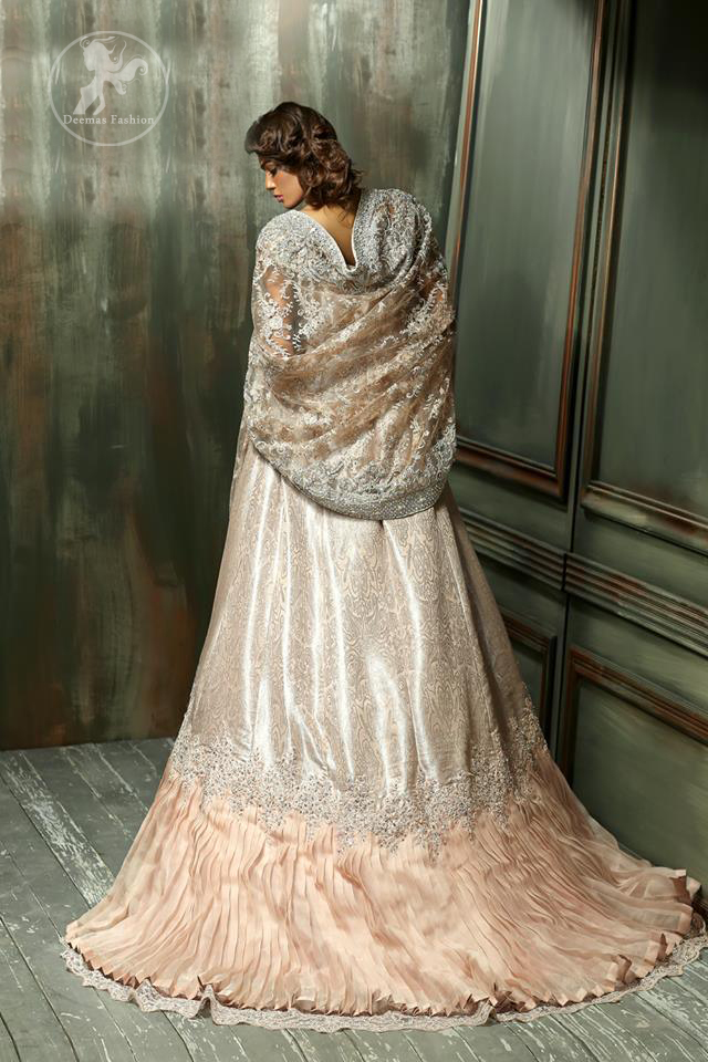 Pale Peach Front Open Back Trail Gown with Embroidered Dupatta