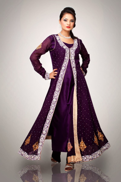 Purple Front Open Semi Formal Gown Latest Designer Dresses