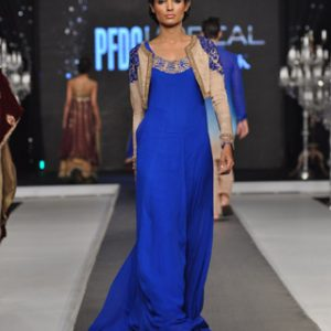 Royal Blue A-line Frock with Beige Embroidered Jacket