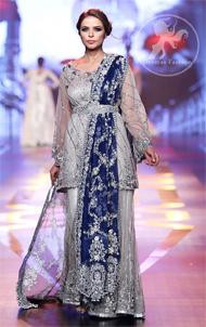 Silver Grey Bridal Dress – Short Shirt -Embroidered Sharara – Royal Blue Dupatta