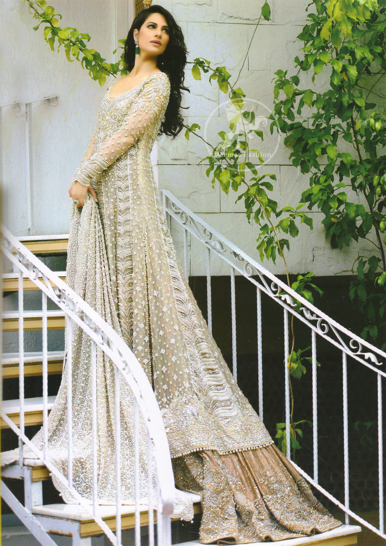 Beige Bridal Wear Frock and Dupatta with Light Brown Lehenga