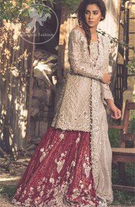 Fawn Bridal Wear Lehenga - Short Shirt - Dupatta - Deep Red Lehenga