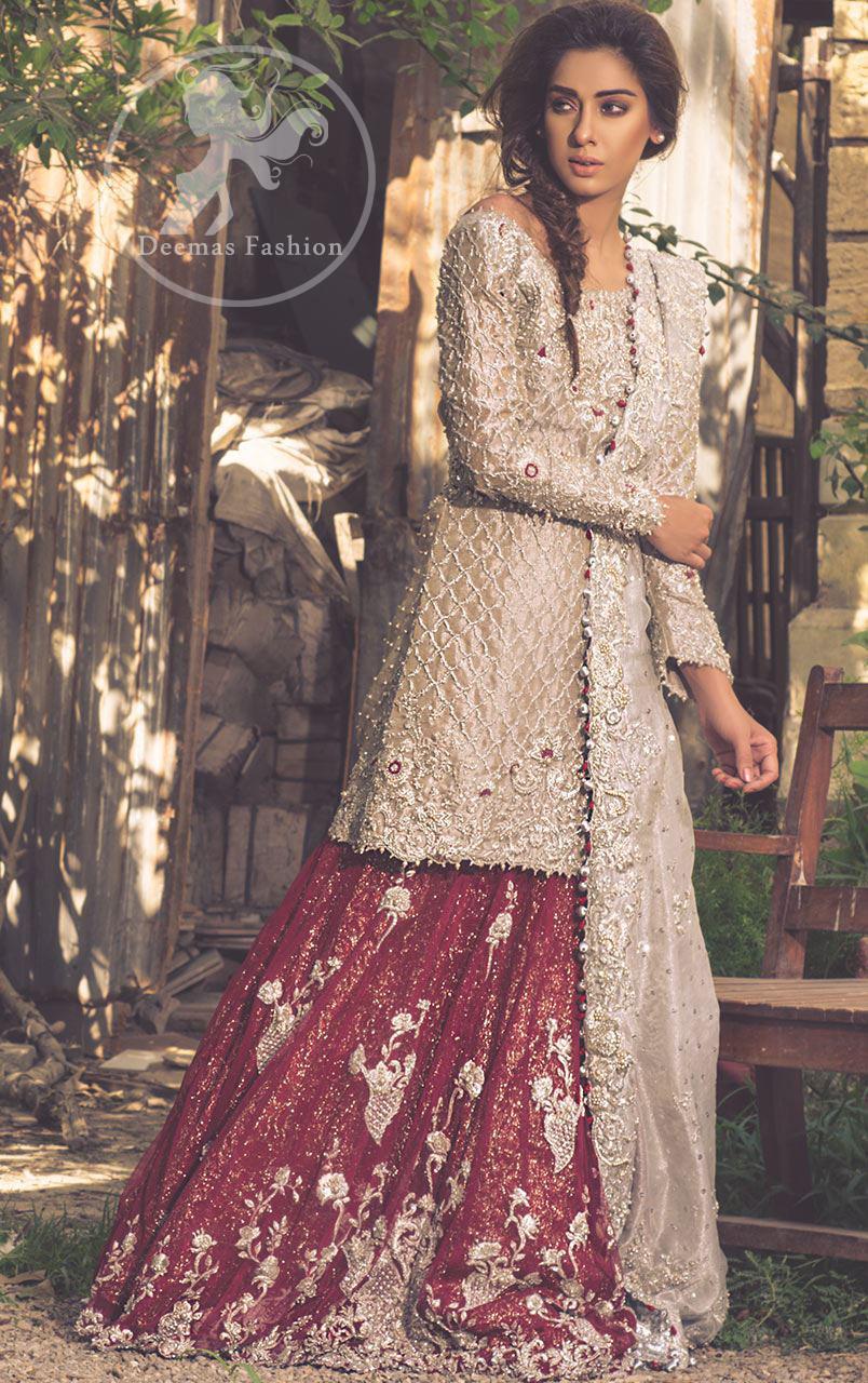 fawn-bridal-wear-short-shirt-and-dupatta-with-red-lehenga