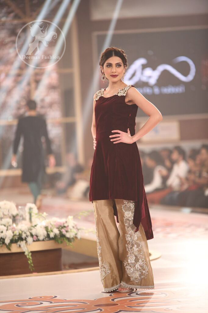 maroon-velvet-top-with-golden-embroidered-bell-bottom-pants