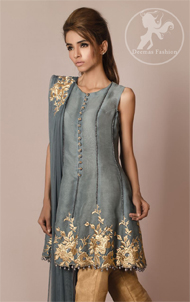 Gray Short Frock – Dupatta – Golden Cigarette Pants