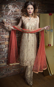 Beige Formal Shirt - Bell Bottom - Coral Pink Dupatta