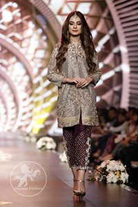 Formal Wear Collection - Gray Front Open Shirt - Plum Embroidered Cigarette Pants