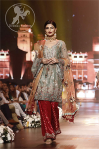 Grayish Green Short Shirt - Red Trousers - Peach Dupatta