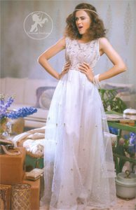 Evening Wear Gown - Ivory White Embroidered Maxi