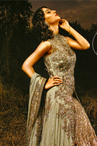 Pakistani Bridal Dresses 2017 – Light Green – Peach – Double Layer – Back Trail Maxi