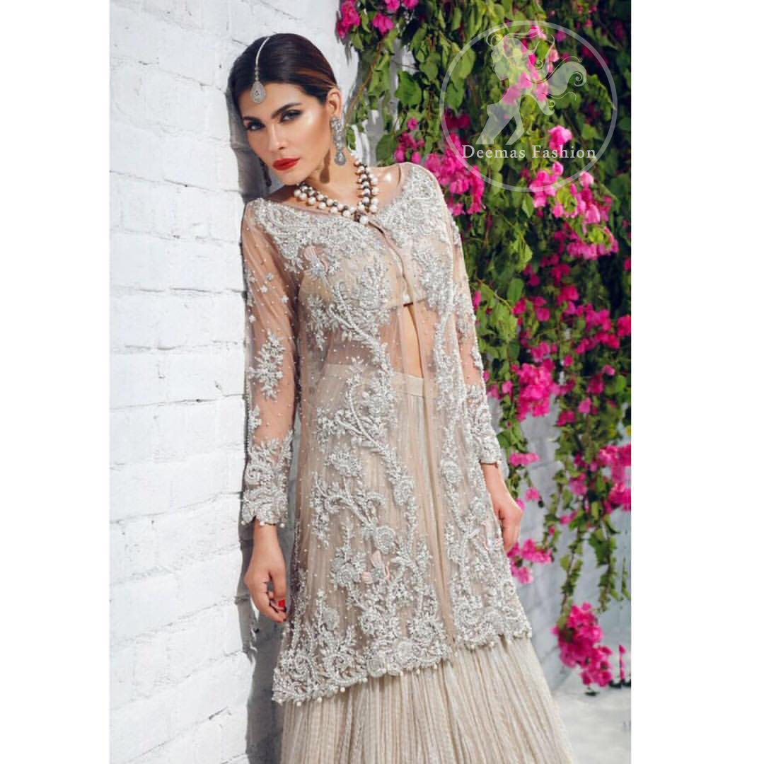 beige-front-open-gown-crushed-lehenga-2