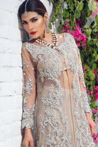 beige-front-open-gown-crushed-lehenga
