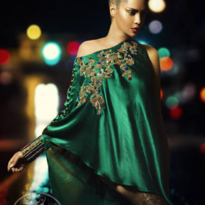 Bottle Green Formal Cape - Golden Cigarette Pants - Dupatta