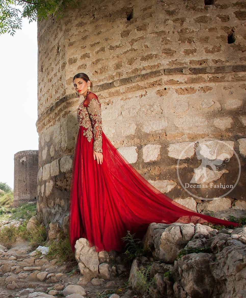 bright-red-party-wear-back-trail-maxi