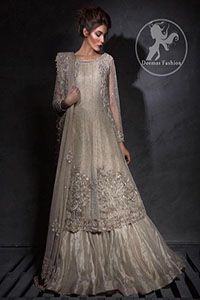 Light Fawn A-Line Bridal Frock - Lehenga -Embroidered Dupatta