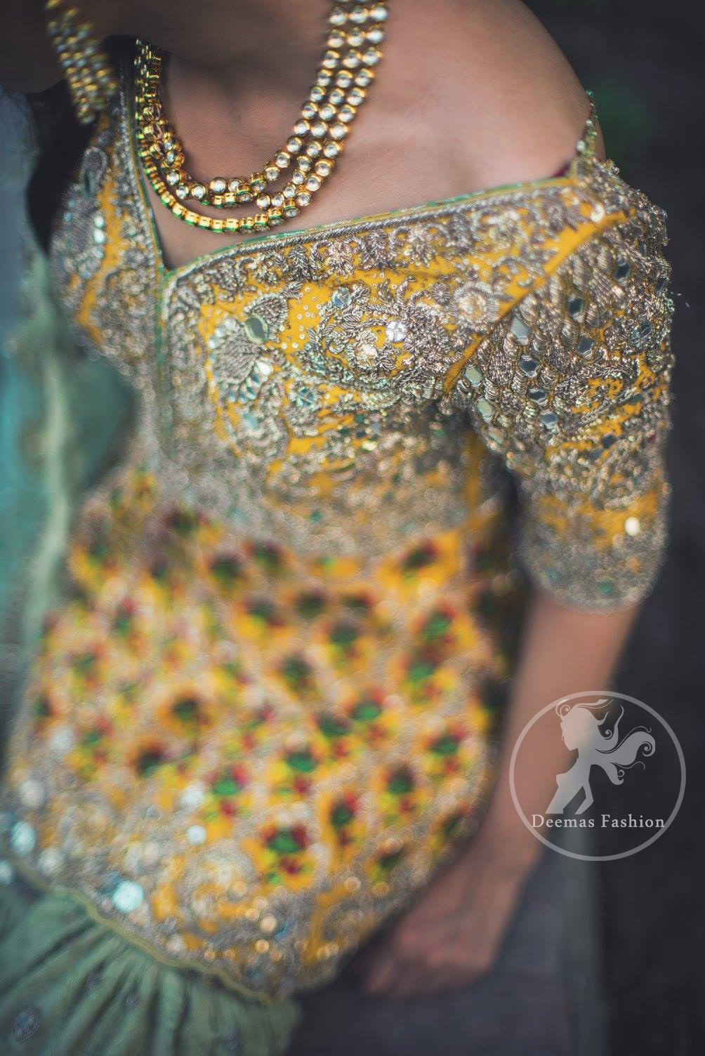 mehndi-dress-2016-yellow-short-frock-with-light-green-gharara-2