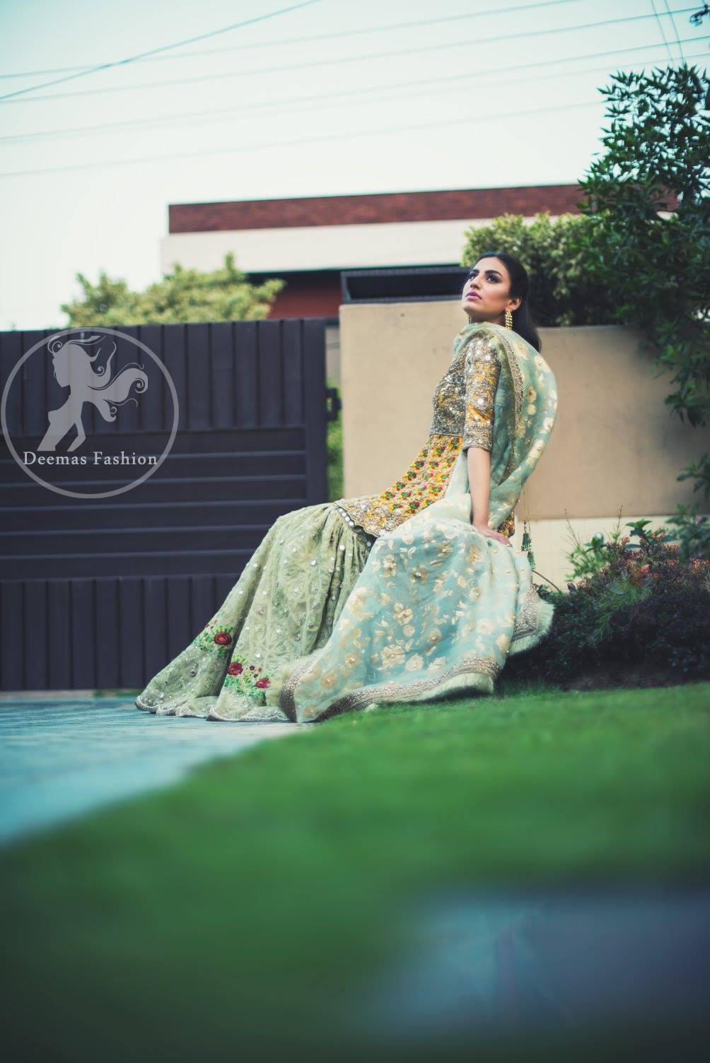 mehndi-dress-2016-yellow-short-frock-with-light-green-gharara-4