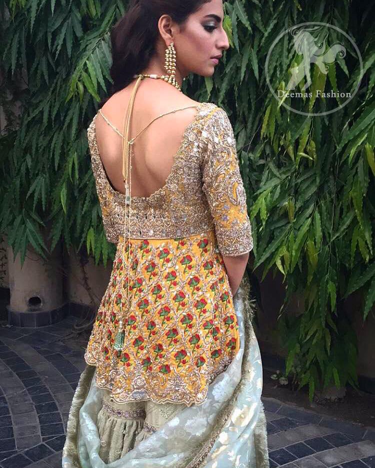 mehndi-dress-2016-yellow-short-frock-with-light-green-gharara