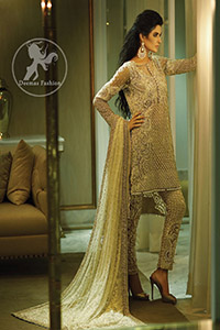 Beige Heavy Shirt – Cigarette Pants – Embroidered Dupatta