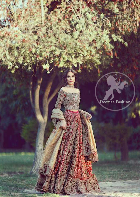 Bright Red Bridal Lehenga - Choli