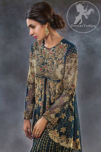 Dark Teal Short Frock -Sharara