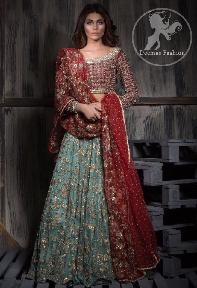 Deep Red Bridal Choli -Dupatta - Teal Green Lehenga
