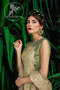 Dusty Gold Long Frock - Pistachio Green Sharara