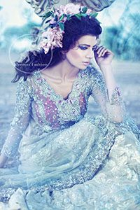 Light Gray A-Line Net Shirt And Jamawar Sharara