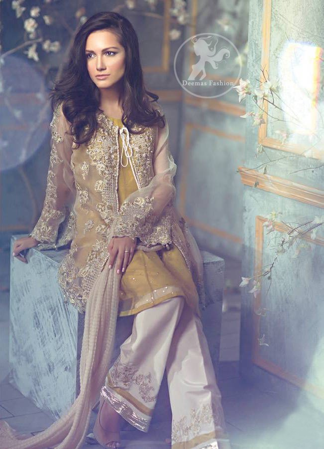 Beige Front Open Gown - Golden Shirt Bell Bottom - Embroidered Pants