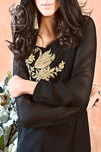 Black Semi Formal Shirt - Bell Bottom Pants - Banarsi Jamawar Dupatta