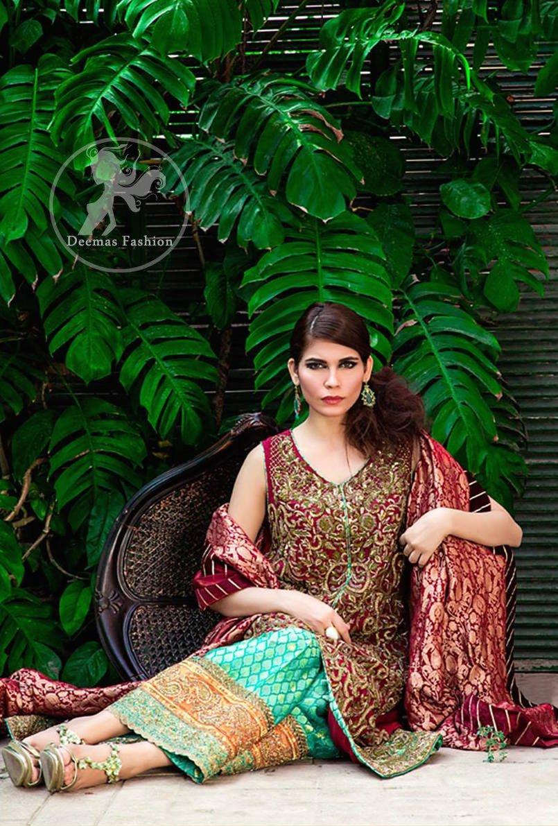 Deep Red Bridal Shirt - Turquoise Jamawar Sharara