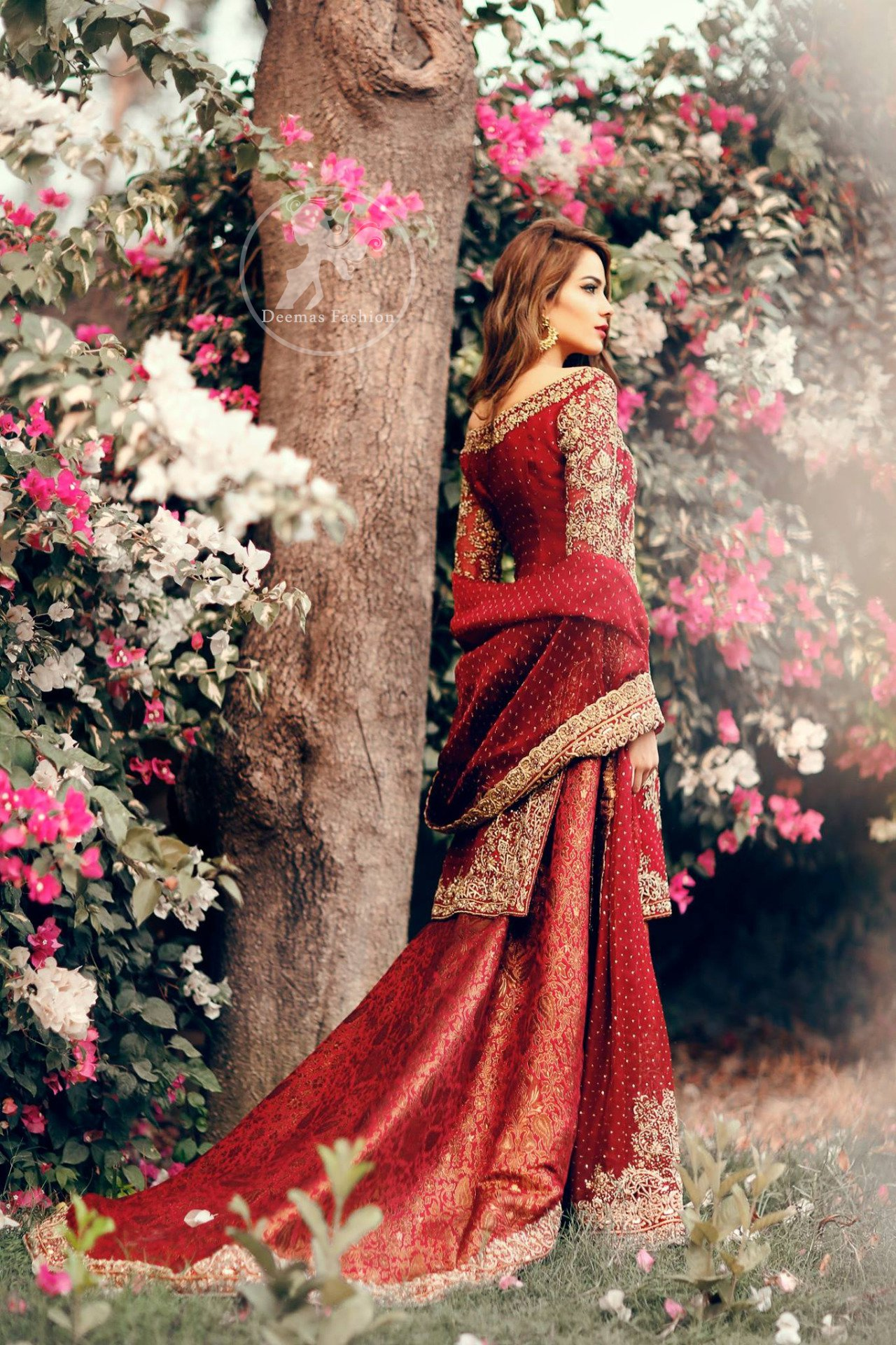 Deep Red Fully Embroidered Shirt - Back Trail Lehenga - Bridal Dupatta
