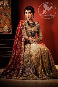 Golden Front Open Back Trail Gown – Bridal Lehenga – Deep Red Dupatta