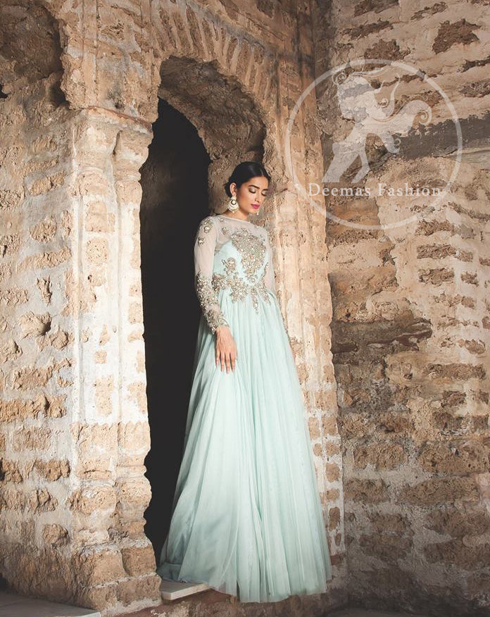 Designer Collection 2017 - Light Blue Party Wear Embroidered Maxi